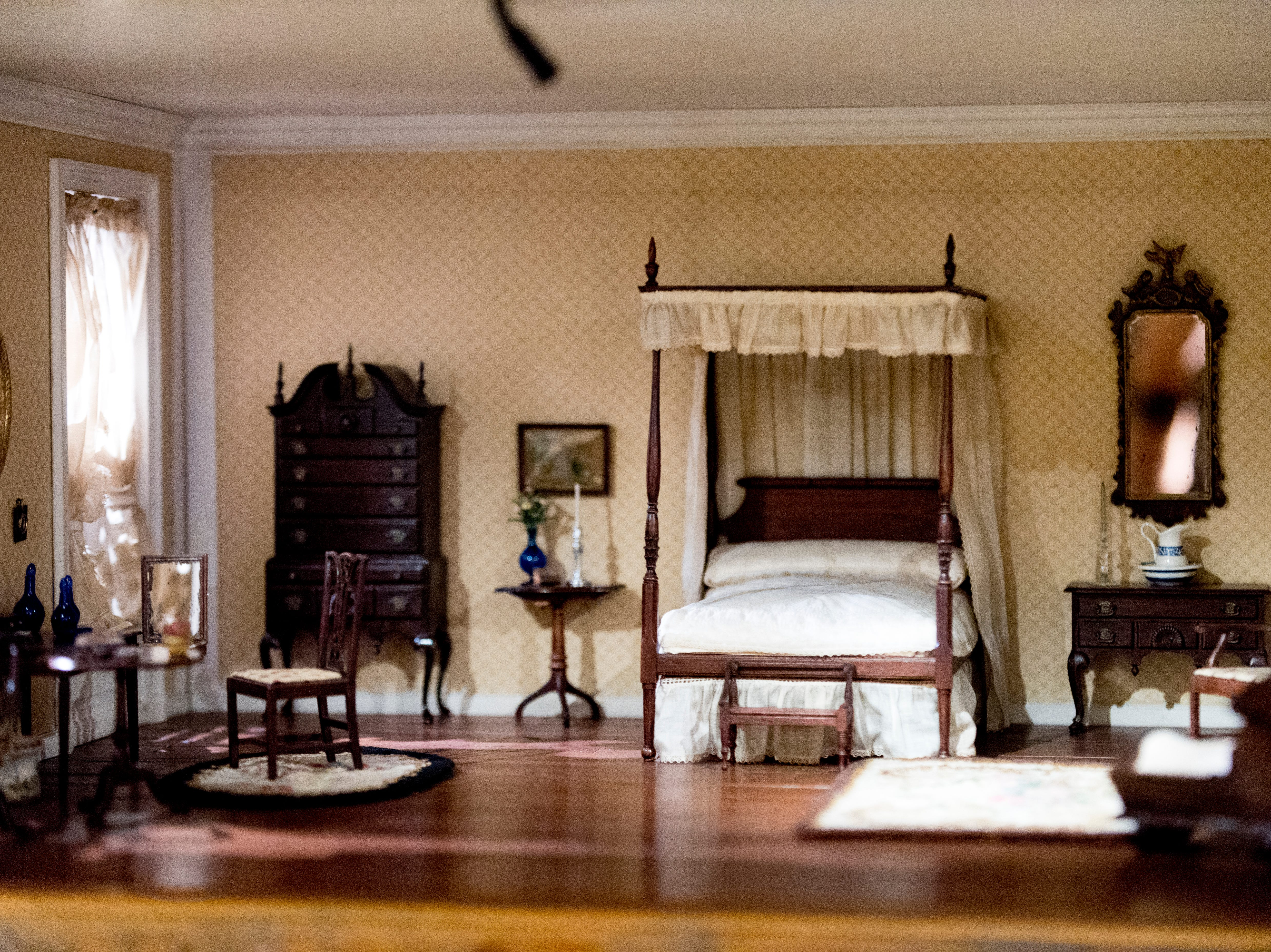 A view inside the New England bedroom circa 1770 in the Thorne Room at the Knoxville Museum of Art in Knoxville, Tennessee on Tuesday, August 21, 2018. The nine miniature rooms were created in the 1930s and 40s by Mrs. James Ward Thorne to a scale of one inch to one foot.