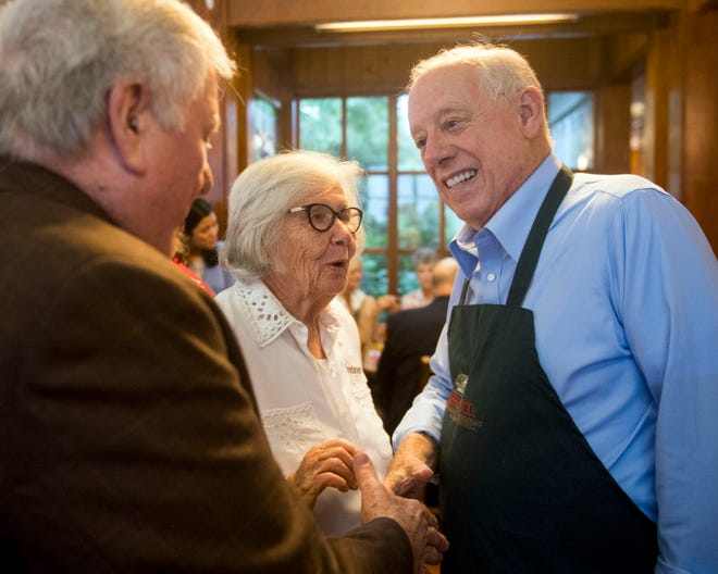 Phil Bredesen, the Democratic nomineeforan open U.S. Senate seat in Tennessee, meets with supporters during a campaign stop Aug. 21, 2018, at Applewood Farmhouse Restaurant in Sevierville.