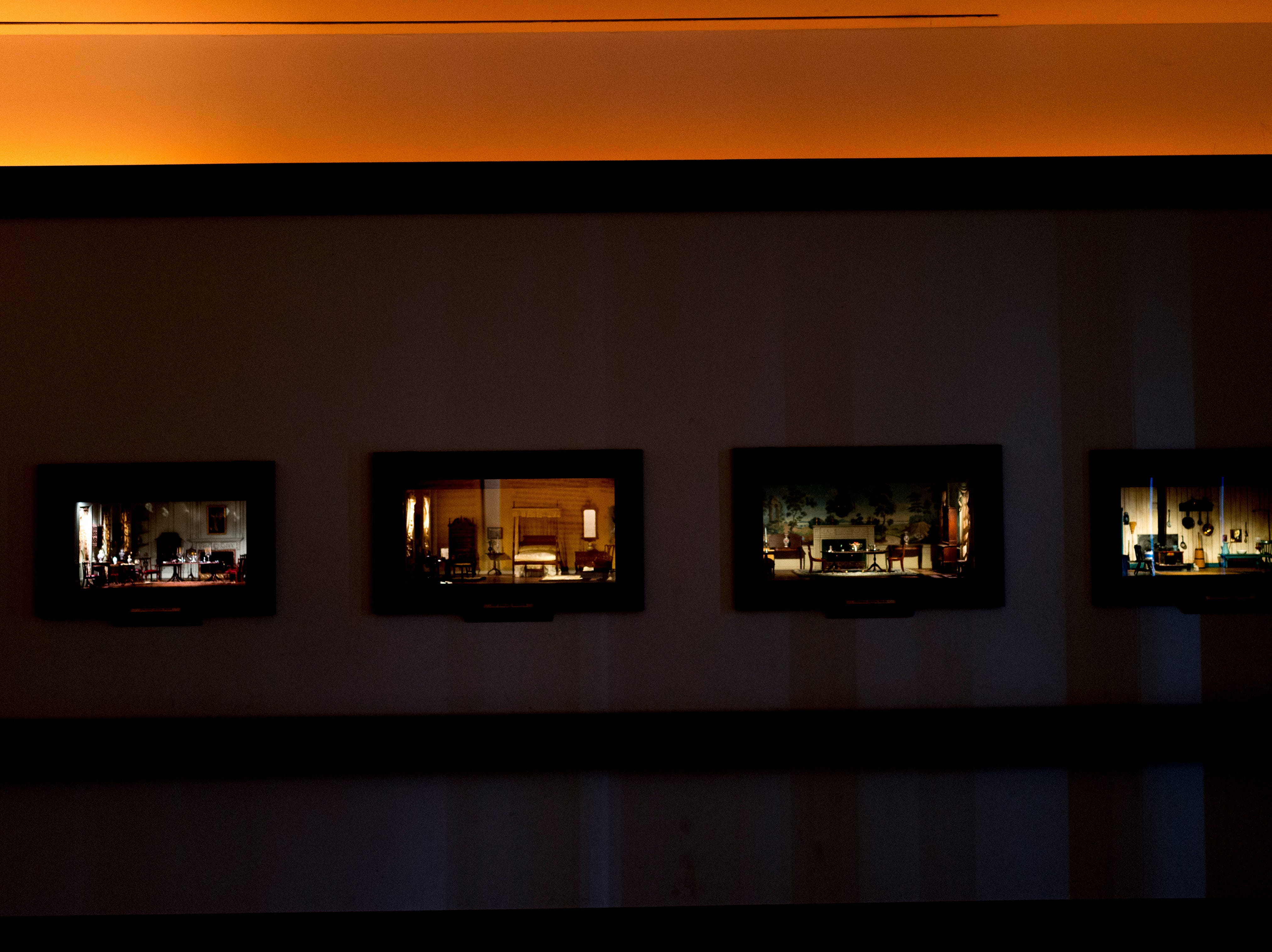 A row of the miniature room displays in the Thorne Room in Knoxville, Tennessee on Tuesday, August 21, 2018. The nine miniature rooms were created in the 1930s and 40s by Mrs. James Ward Thorne to a scale of one inch to one foot.