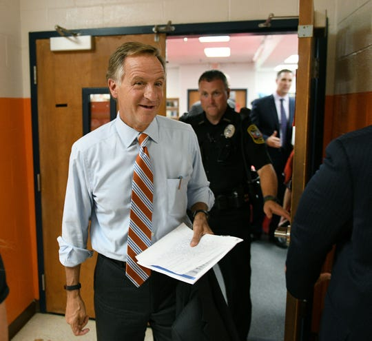 Gov. Bill Haslam leaves his first TN Ready listening tour meeting at Halls Elementary School Friday, August 24, 2018.