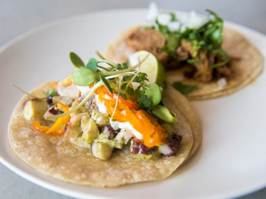 The tako taco at Tako Taco is made with grilled octopus, black cardamom raita and spicy greens.