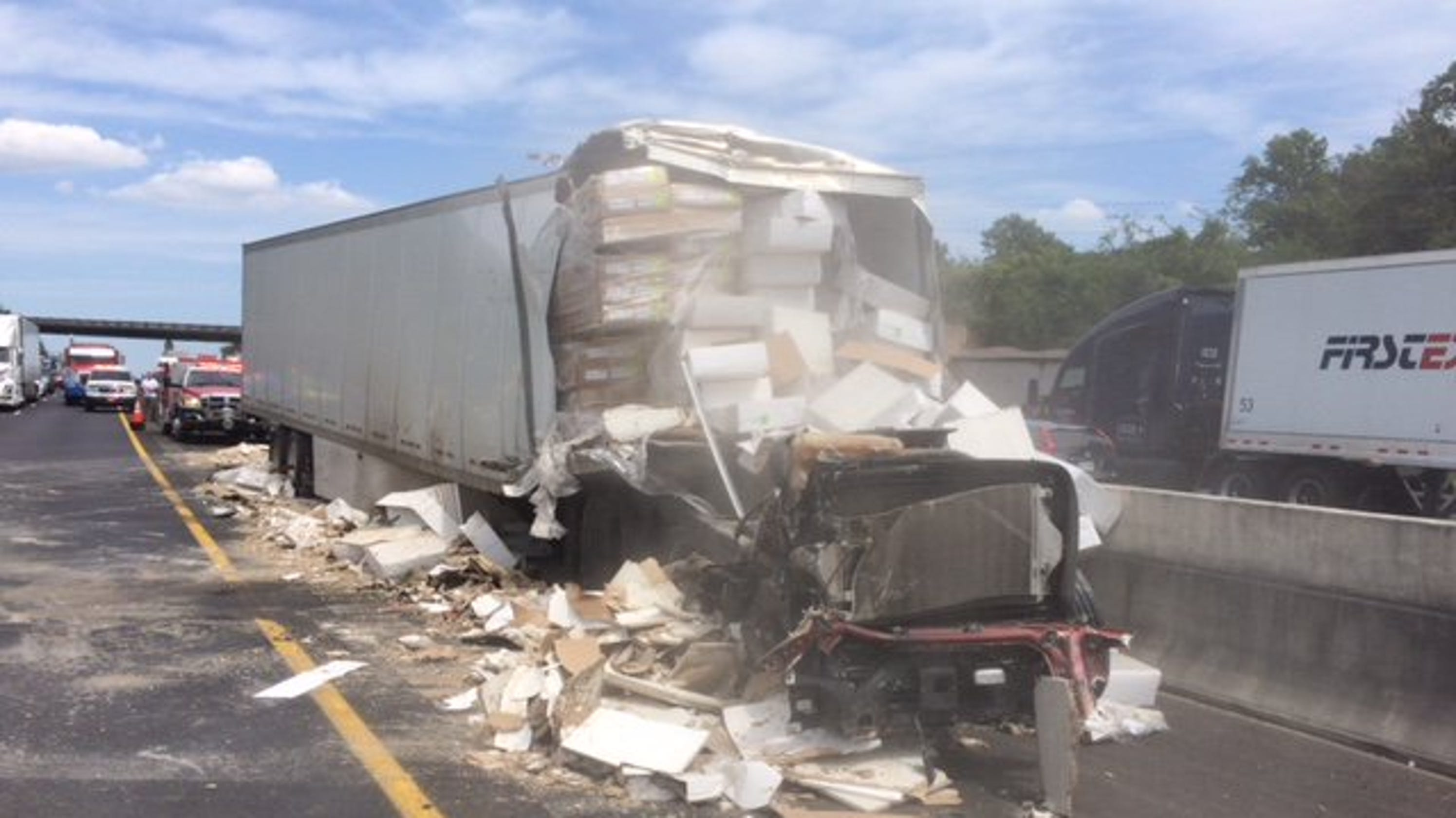 Tractor-trailer crash backs up Interstate 40 West