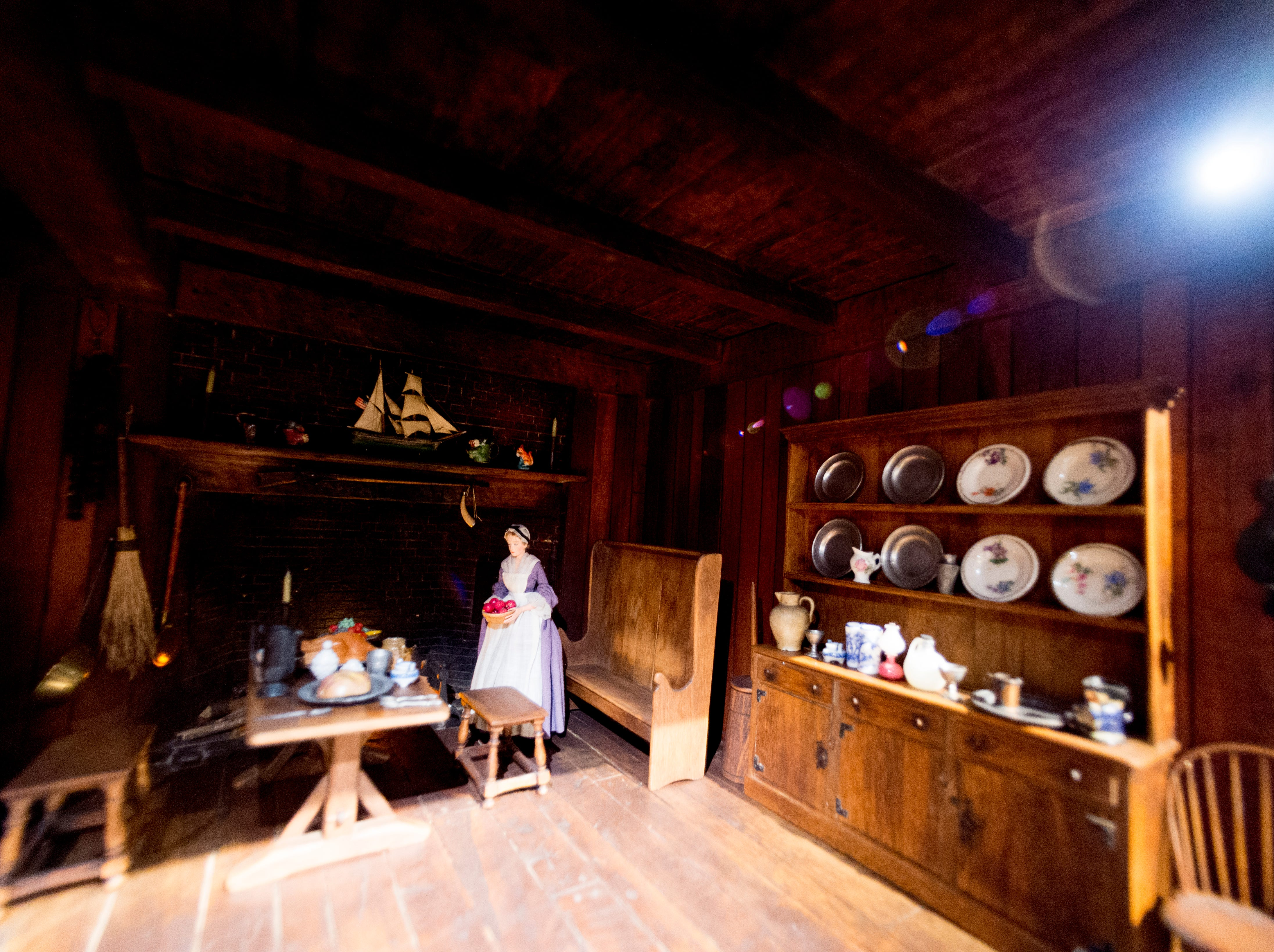 A view inside the Early American Kitchen display in the Thorne Room at the Knoxville Museum of Art in Knoxville, Tennessee on Tuesday, August 21, 2018. The nine miniature rooms were created in the 1930s and 40s by Mrs. James Ward Thorne to a scale of one inch to one foot.