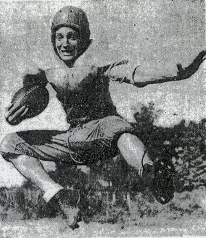 Jack Draper, above, a reserve Central High tailback who filled in for Jack Adams and Nixon Crews recently, is rapidly learning the art of carrying a football. the Youthful Bobcat, a sophomore at the Fountain City school, is still in the development stage but his noteworthy appearances in games to date gives evidence that Central High will have another fine halfback for two more years. The Bobcats journey to Nashville Cohn for a game friday night.