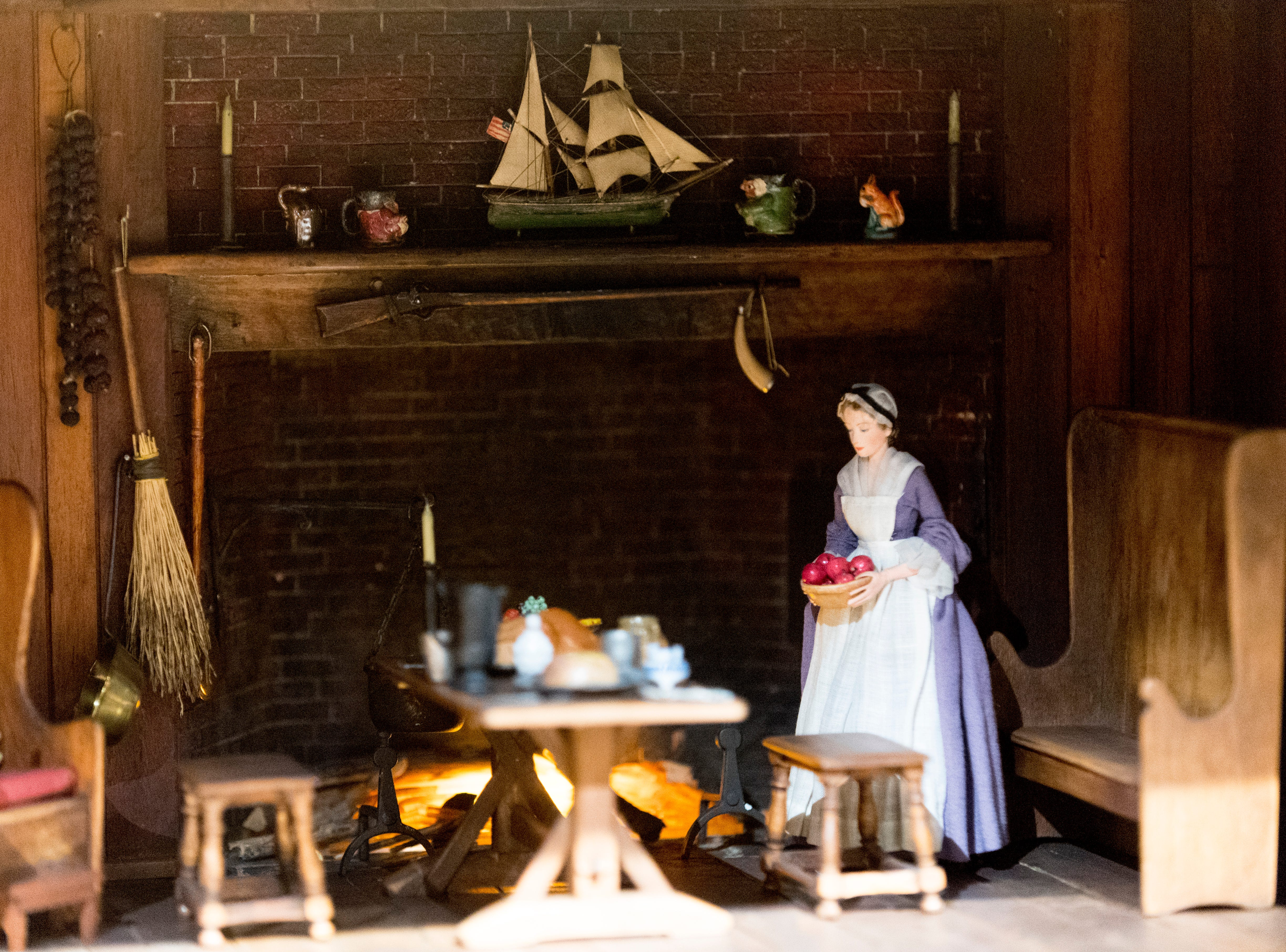 A view inside the Early American Kitchen display in the Thorne Room at the Knoxville Museum of Art in Knoxville, Tennessee on Tuesday, August 21, 2018. The nine miniature rooms were created in the 1930s and 40s by Narcissa Niblack Thorne to a scale of one inch to one foot.