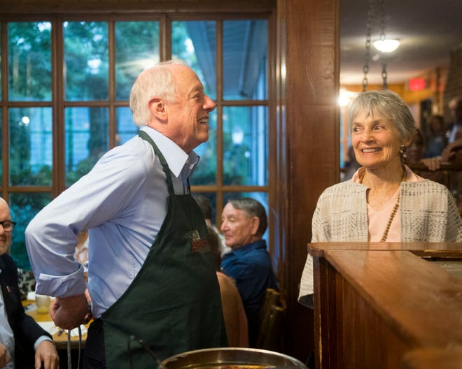 Tennessee senatorial candidate Phil Bredesen and Andrea Conte during campaign stop and chili supper at Applewood Farmhouse Restaurant in Sevierville on Tuesday, August 21, 2018.