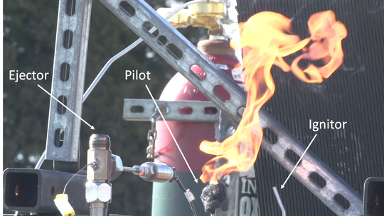 Purdue University School of Aeronautics and Astronautics created a flamethrower that can create flame more than 100 feet high.