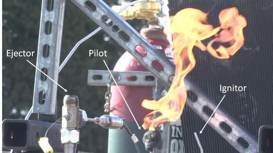 Purdue University School of Aeronautics and Astronautics created a flamethrower that can create flame more than 100 feet high.
