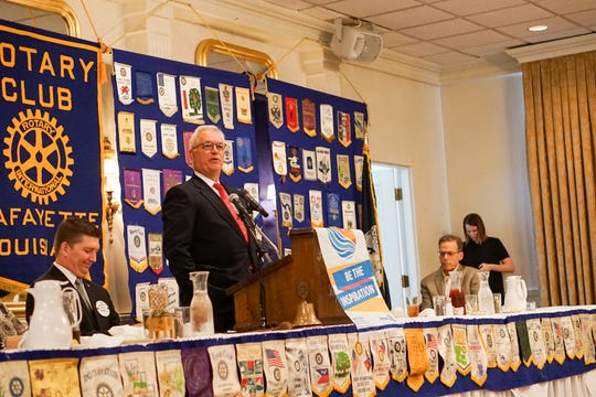 Jim Bernhard Jr. speaks to the Lafayette Rotary Club Aug. 23, 2018, about plans to manage Lafayette Utilities System's electric, water and sewer services.