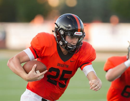 Brighton quarterback Will Jontz ran for 169 yards and four touchdowns on 21 carries against Belleville on Thursday, Aug. 23, 2018.