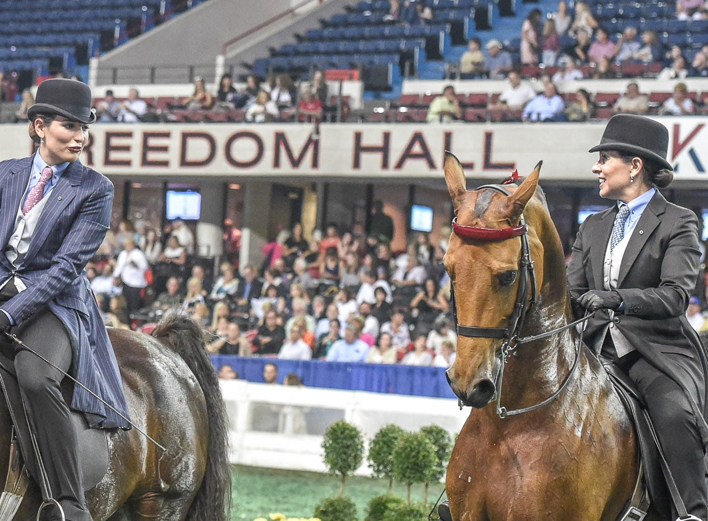 Mother Barbara Manilow and daughter Maya compete in the same class at the World's Championship Horse Show