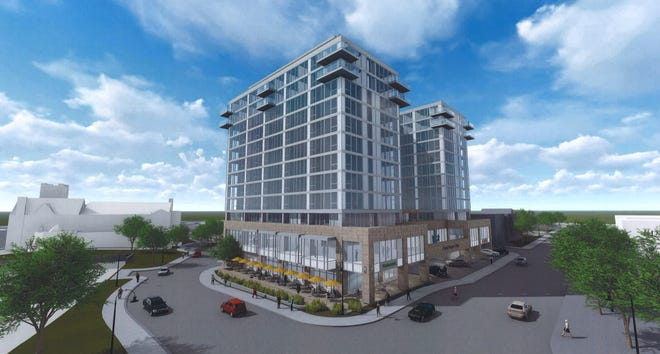 A proposed mixed-use building at the corner of Abbot Road and Albert Avenue in Downtown East Lansing.