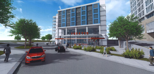 A proposed mixed-use building along Evergreen Avenue in downtown East Lansing.