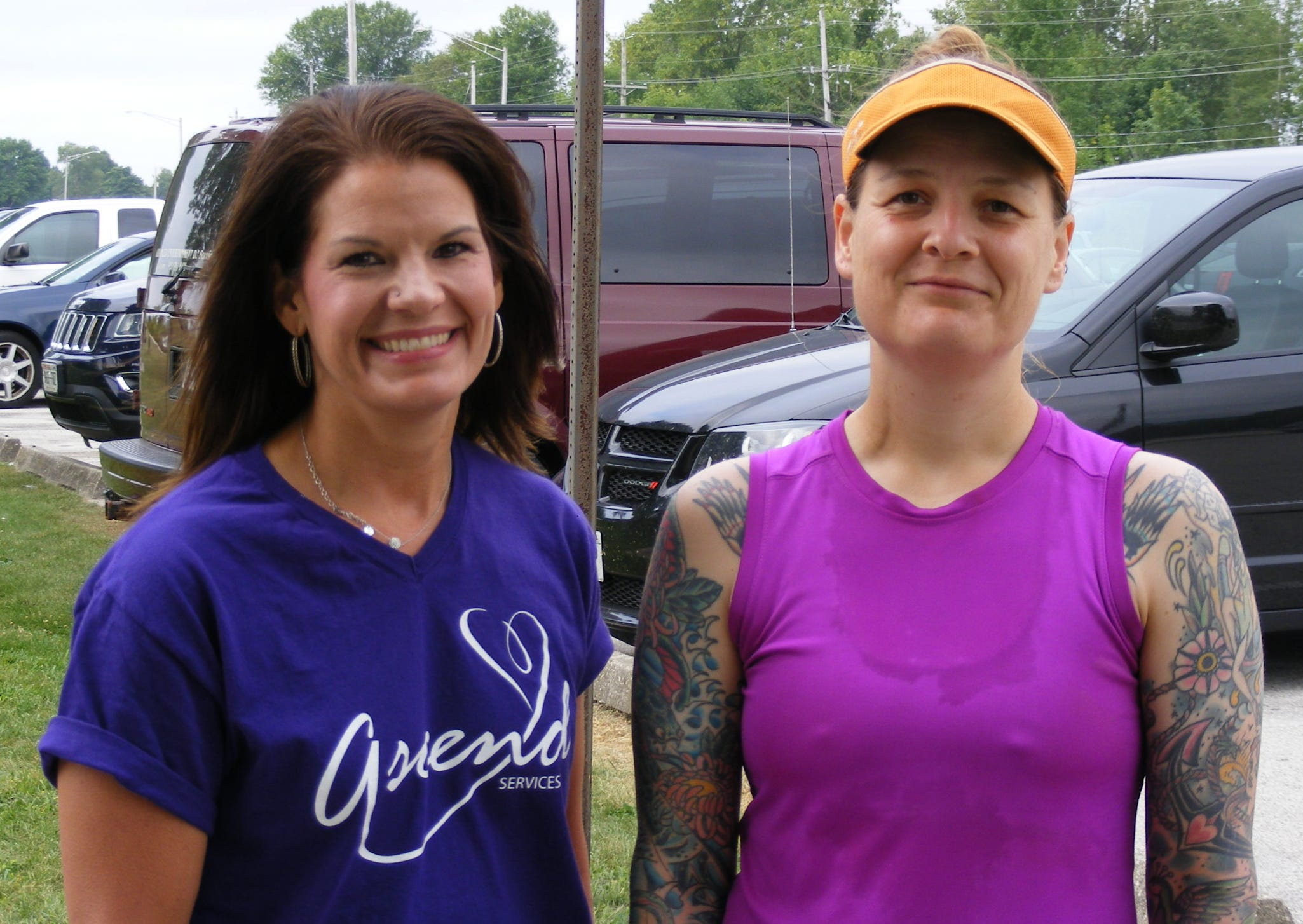 Ascend Services, Inc., hosted its 5K Run, Walk & Roll Aug. 18 on Mariners Trail. Pictured are top female winner Julie Freund (right) and Ascend Director Deanna Genske.