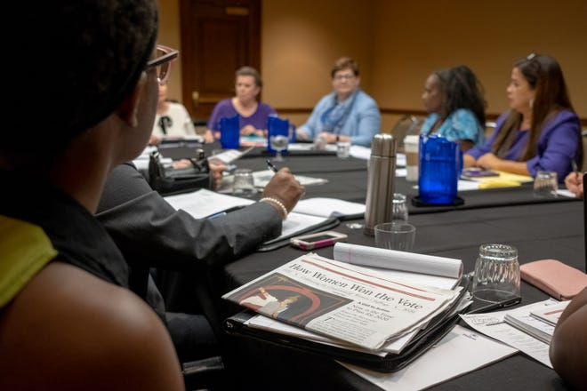 The annual meeting of the National Women's Political Caucus is taking place at the Hilton, and will run till Sunday.