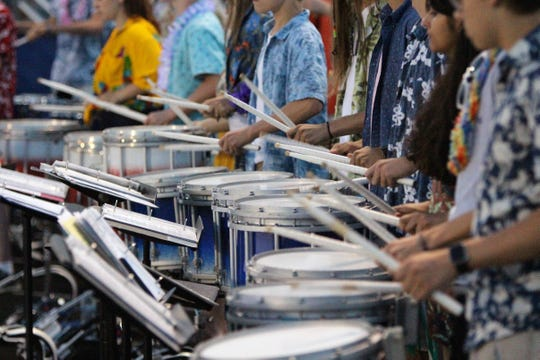 The Brookfield Central band's drum line plays during a game against Oconomowoc on August 23.