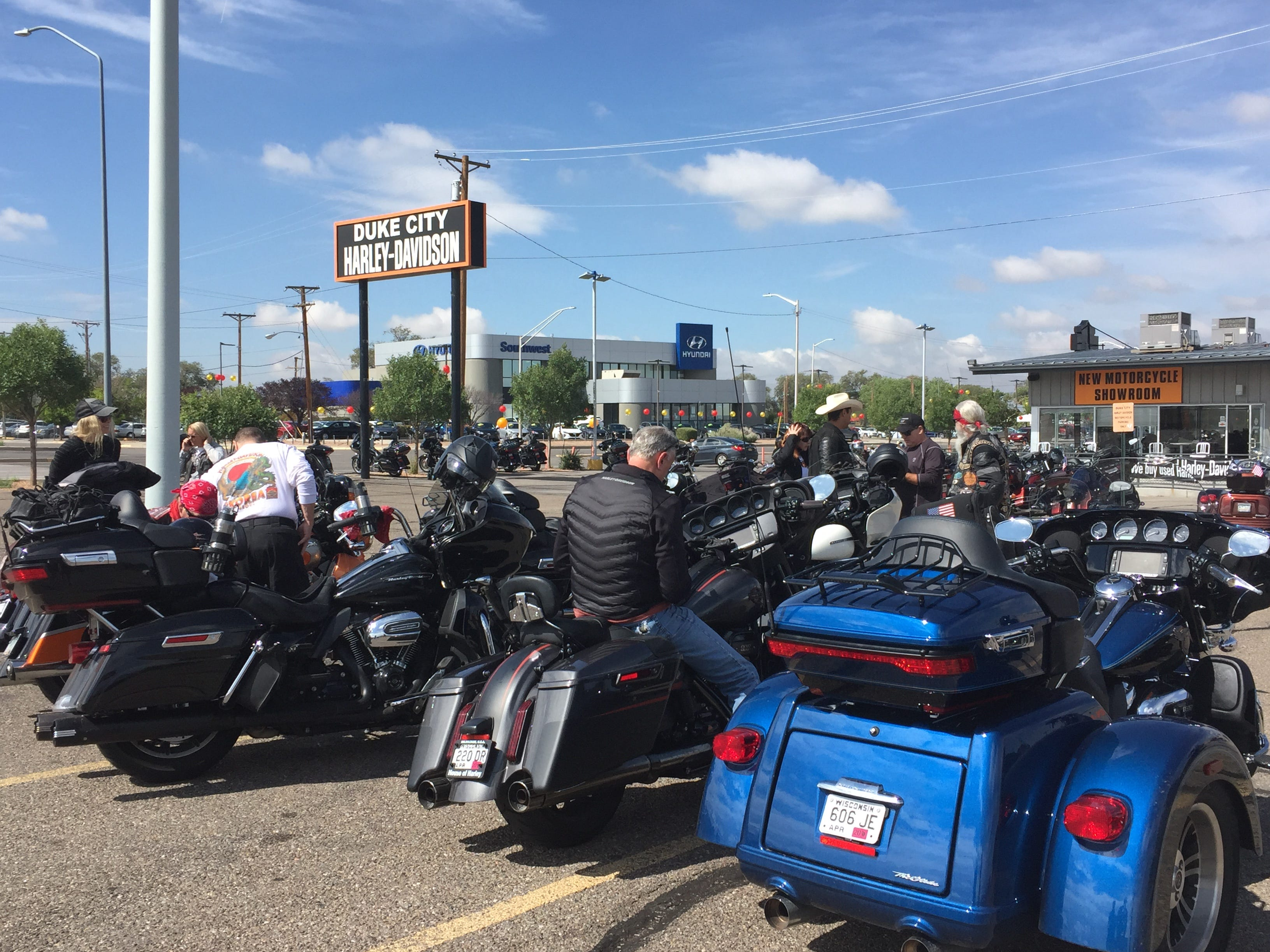 Riders stopped by Duke City Harley-Davidson in Albuquerque on Aug. 23.