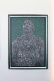 Artist Nicholas Schleif of Milroy, Minn., created this portrait of former Milwaukee Bucks player Ray Allen.