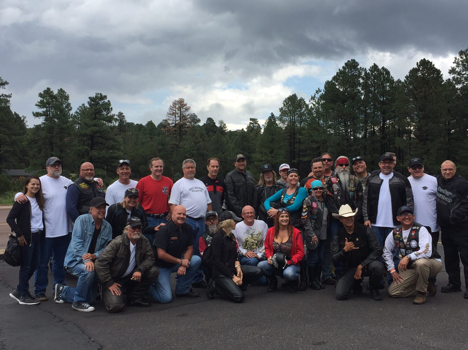 About 70 riders pose for a group shot after making a lunch stop for burgers at the Red Onion in Overgaard, Arizona. Most of the riders headed back to Phoenix, leaving about 20 bikes to make the trek to Gallup, New Mexico.