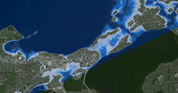 This 2014 computer model by the University of Wisconsin-Madison projects the potential impact on Madison's Isthmus if a massive 2008 Wisconsin rainstorm had hit the city.