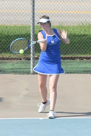 Mountain Home's Meagan Beck returns a shot during a recent home match.