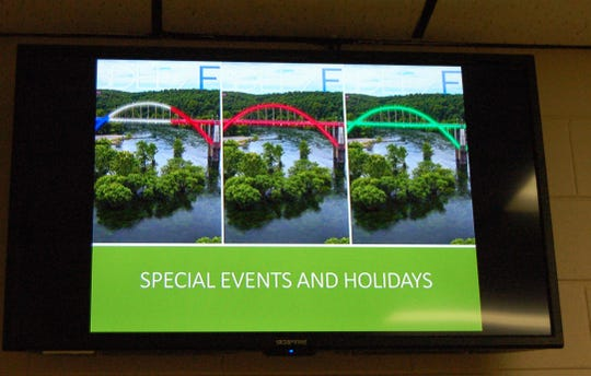 The LED lights that the Light the Bridge Committee is hoping to have installed on the R.M. Ruthven Bridge would be able to change colors. An image of what the bridge would look like with various color schemes was part of the committee's presentation to the Cotter City Council on Thursday night.