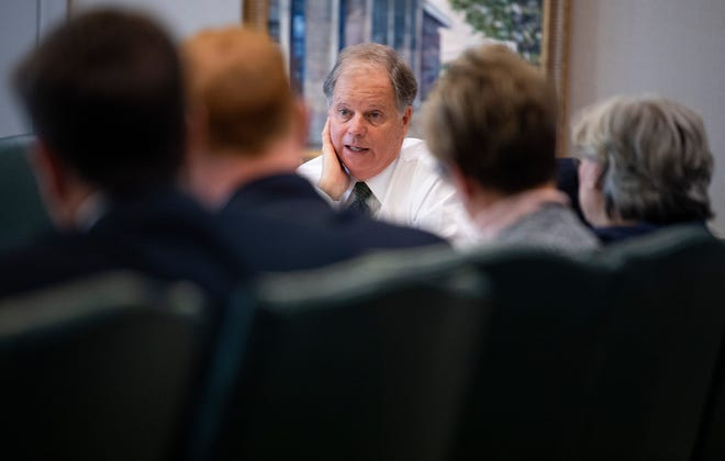 Senator Doug Jones holds a listening session on possible Medicaid expansion and other medical cost issues at the Alabama Hospital Association in Montgomery, Ala., on Friday August 24, 2018.