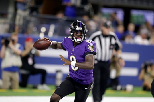 Baltimore Ravens quarterback Lamar Jackson throws during the second half of an NFL preseason football game against the Indianapolis Colts in Indianapolis, Monday, Aug. 20, 2018. (AP Photo/Darron Cummings)