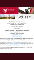 A flier for a Ball State Alumni Association event at Trump National Doral Miami