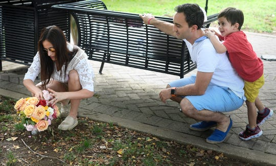 Leli Zamaorano, and Emanuel Pacheco and their son Maximo visit the memorial site for their daughter Katy Summer at Owen Bradley Park Friday, Aug. 24, 2018, in Nashville, Tenn. Summer was an teenager and aspiring country musician who took her own life as a result of cyber bullying.