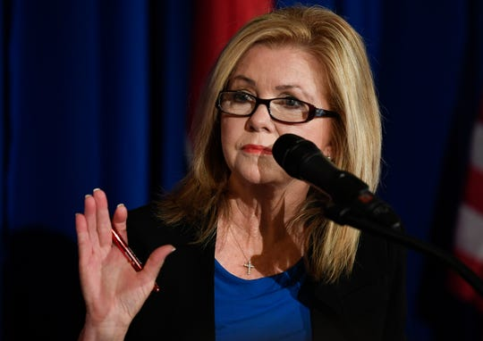 U.S. Rep. Marsha Blackburn, R-Brentwood, and the GOP nominee for the U.S. Senate addresses the opioid crisis facing the state during the Healthy Tennessee conference at the Hermitage Hotel on Friday, Aug. 24, 2018, in Nashville, Tenn.