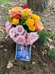 Flowers in memory of Katy Summers in Owen Bradley Park
