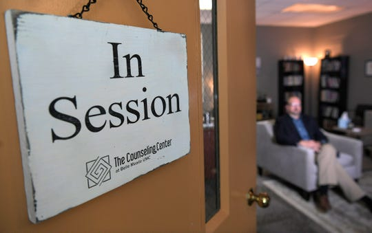 Chris O'Rear, licensed clinical pastoral therapist, sits inside  his counseling center at Belle Meade United Methodist Church in Nashville on Thursday, Aug. 23, 2018.