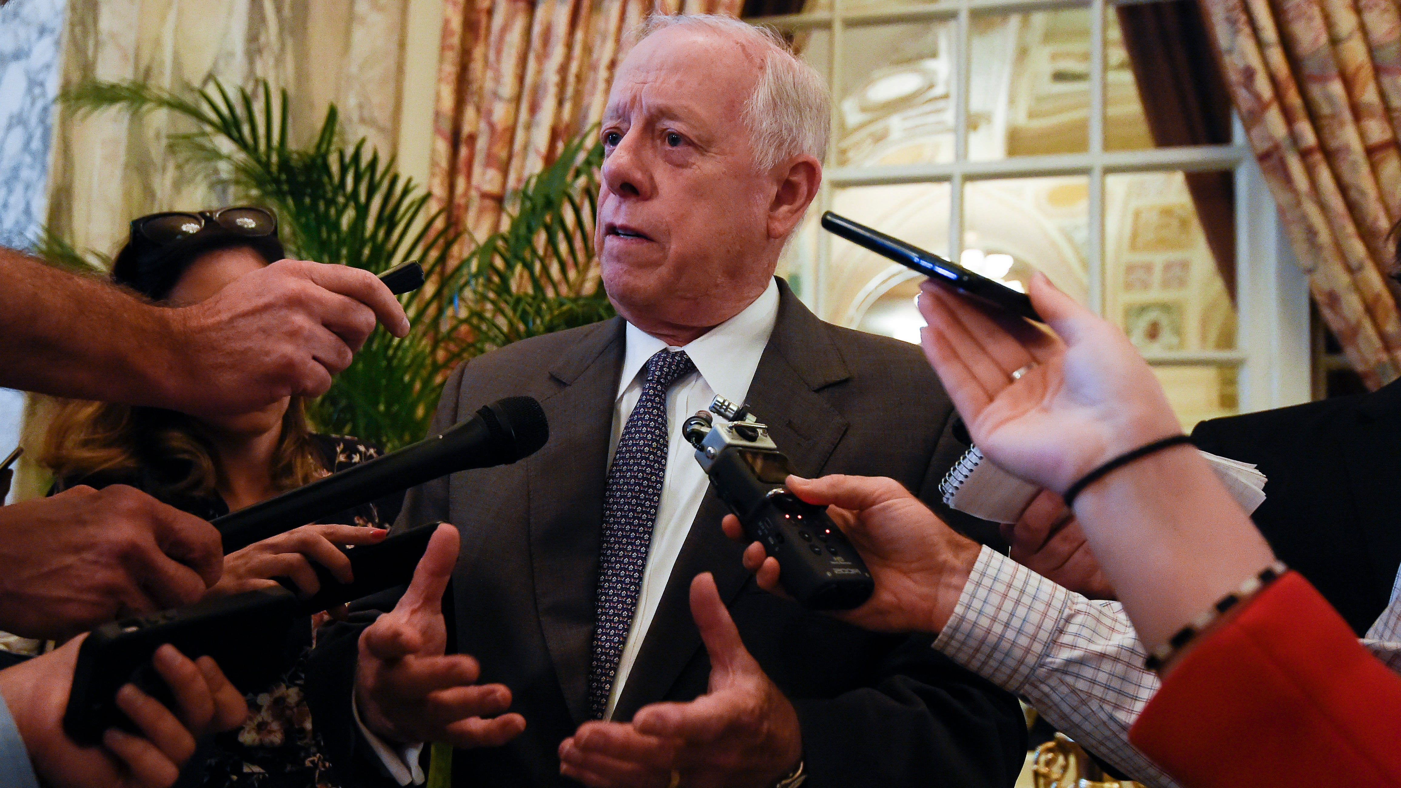U.S. Senate candidate, former governor Phil Bredesen answers questions from the media after addressing the Healthy Tennessee conference at the Hermitage Hotel  Friday, Aug. 24, 2018, in Nashville, Tenn.