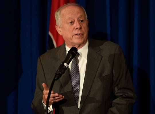U.S. Senate candidate, former Gov. Phil Bredesen addresses the opioid crisis facing the state during the Healthy Tennessee conference at the Hermitage Hotel on Friday, Aug. 24, 2018, in Nashville, Tenn.