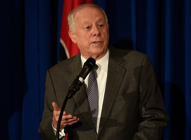 U.S. Senate candidate, former governor Phil Bredesen addresses the opioid crisis facing the state during the Healthy Tennessee conference at the Hermitage Hotel  Friday, Aug. 24, 2018, in Nashville, Tenn.