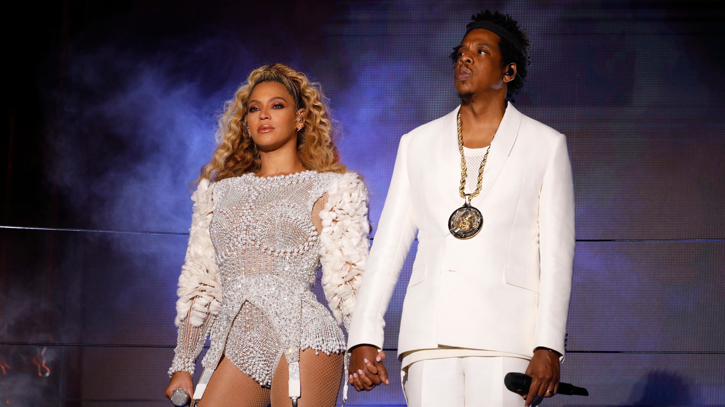 NASHVILLE - AUGUST 23: Beyonce and Jay-Z perform on the 'On The Run II' tour at Vanderbilt Stadium on August 23, 2018 in Nashville, Tennessee. (Photo by Raven Varona/Parkwood/PictureGroup)