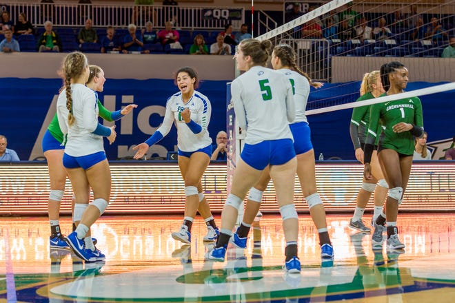 When FGCU's lost all-time kills leader Amanda Carroll (pumping left fist) in August, it looked like the Eagles would crash. Instead they soared to their first ASUN regular-season title since 2012.