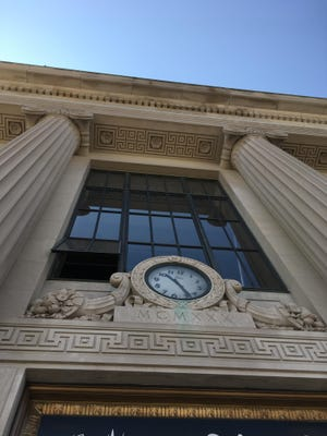 A detail of the former Bank of America building in Ridgewood, now a restaurant space.