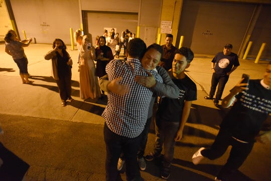 Ahmed Abdel-Basit, a  teacher in Jersey City, greeted by supporters and  students after being released from Elizabeth detention center and just granted asylum. He faced the death penalty in Egypt following a controversial military court trial