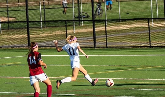 Senior Sophie Daley (11) earned First Team All Conference honors in 2017 and will continue her academic and soccer career at Ithaca College next fall.