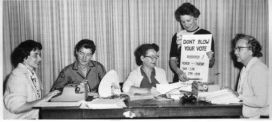 The Glen Rock League of Women Voters registering voters on Sept. 18, 1959.
