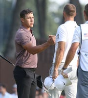 Brooks Koepka finished the day in second place at 10 under with Dustin Johnson who finished the day tied for 4th at 8 under par as they completed the second round of the Northern Trust PGA at the Ridgewood Country Club in Paramus, NJ.