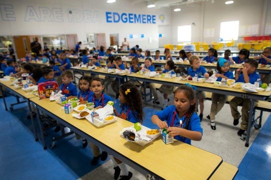 Kindergarten students have lunch at the IDEA Edgemere public school on its second week of operation in east El Paso on Monday, Aug. 20, 2018.