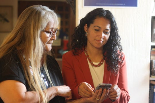 Candidate for the Second Congressional District Xochitl Torres Small meets with voters at, August 22, 2018 at the Eddy County Democratic Party's headquarters in Carlsbad.