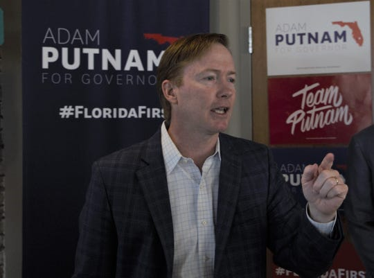 Adam Putnam speaks to a group of supporters at Bodacious Brew in Pensacola on Friday, Aug. 24, 2018.