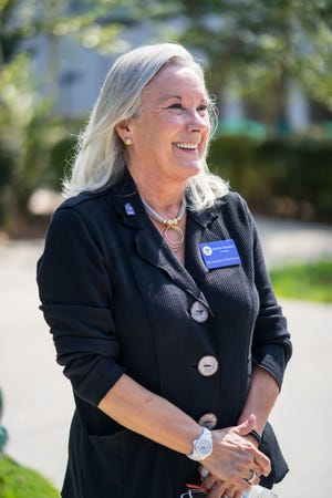 University of West Florida President Dr. Martha Saunders walked through the dorms to greet freshmen and catch up with student volunteers on Friday, Aug. 23, 2018.