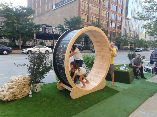 A hamster wheel is pictured at a pop-up park in Chicago.