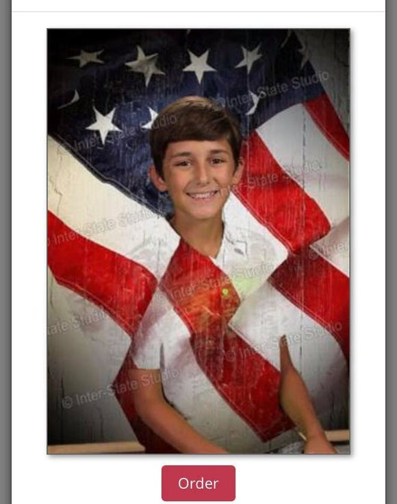 Carter Hutsell's school pictures appear to be missing half his body after the 12-year-old's green shirt matched the green screen.