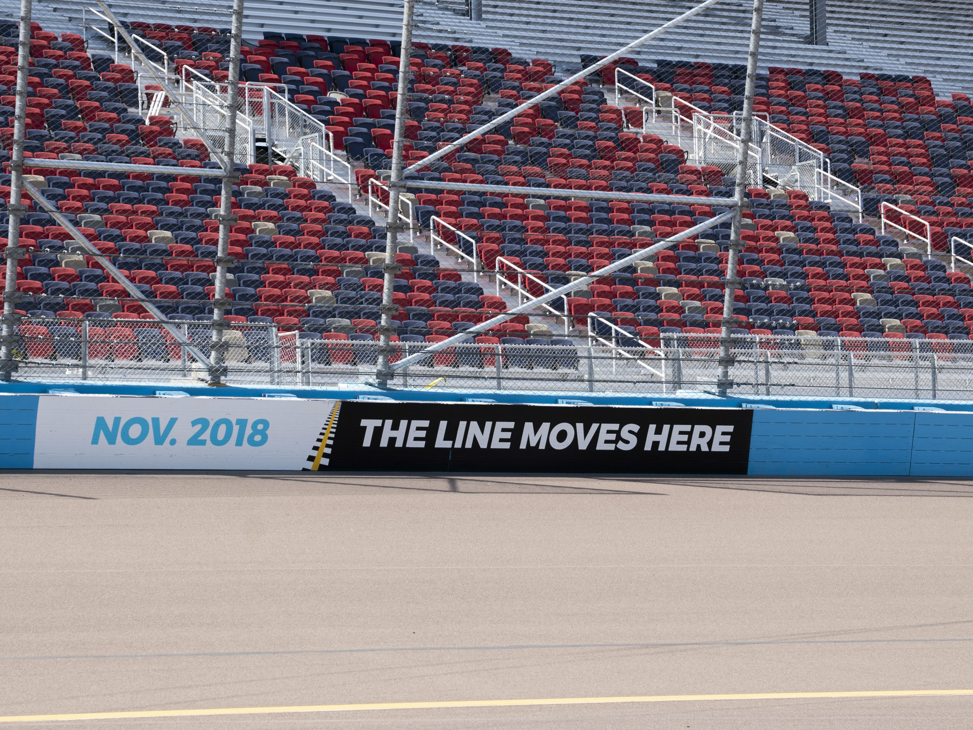 The old benches at ISM Raceway were replaced by more comfortable seating.